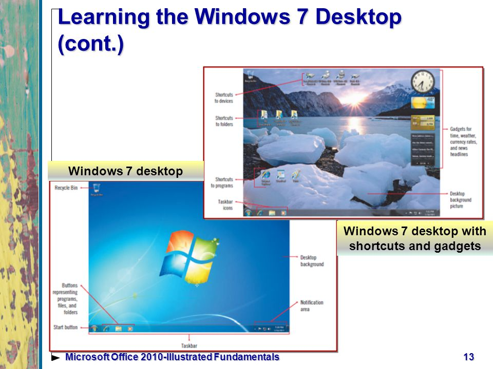 13Microsoft Office 2010-Illustrated Fundamentals Learning the Windows 7 Desktop (cont.) Windows 7 desktop Windows 7 desktop with shortcuts and gadgets