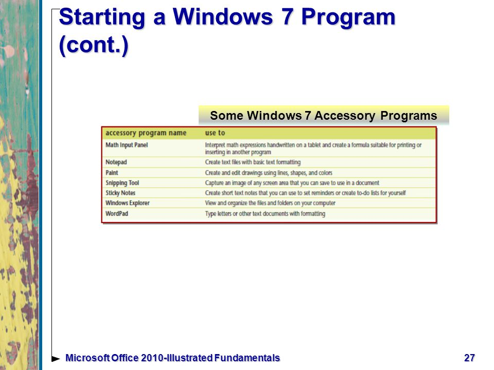 Starting a Windows 7 Program (cont.) 27Microsoft Office 2010-Illustrated Fundamentals Some Windows 7 Accessory Programs