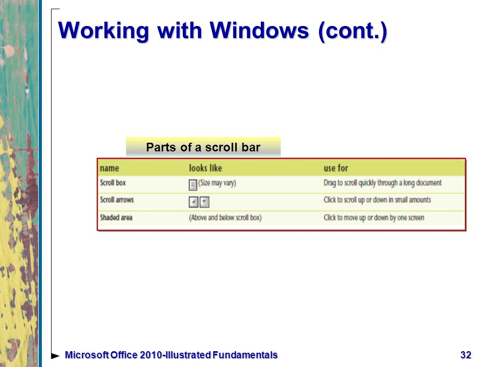 Working with Windows (cont.) 32Microsoft Office 2010-Illustrated Fundamentals Parts of a scroll bar