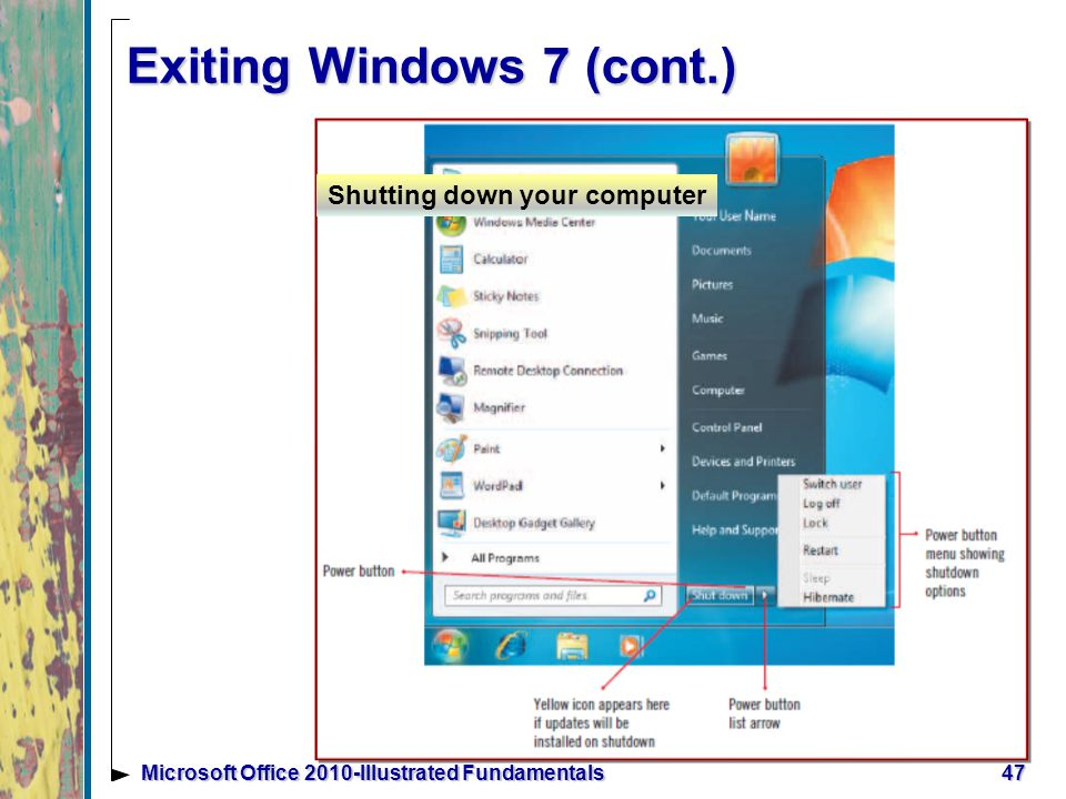 Exiting Windows 7 (cont.) 47Microsoft Office 2010-Illustrated Fundamentals Shutting down your computer