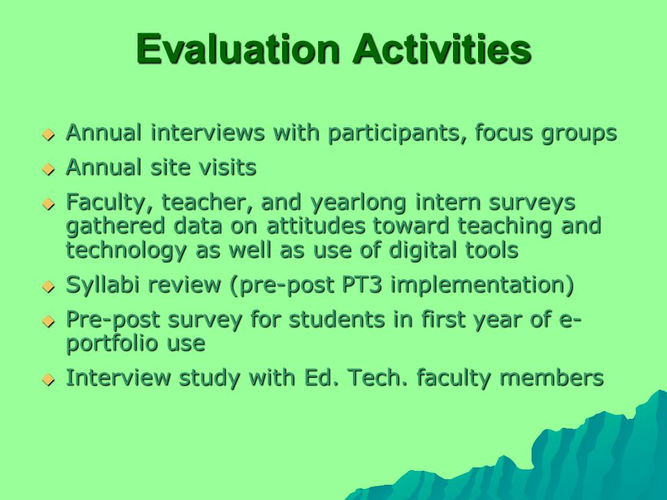 Evaluation Activities  Annual interviews with participants, focus groups  Annual site visits  Faculty, teacher, and yearlong intern surveys gathered data on attitudes toward teaching and technology as well as use of digital tools  Syllabi review (pre-post PT3 implementation)  Pre-post survey for students in first year of e- portfolio use  Interview study with Ed.