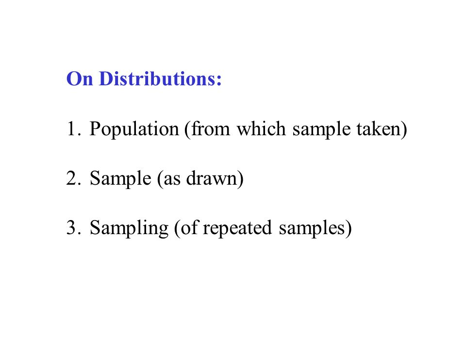 On Distributions: 1.Population (from which sample taken) 2.Sample (as drawn) 3.Sampling (of repeated samples)