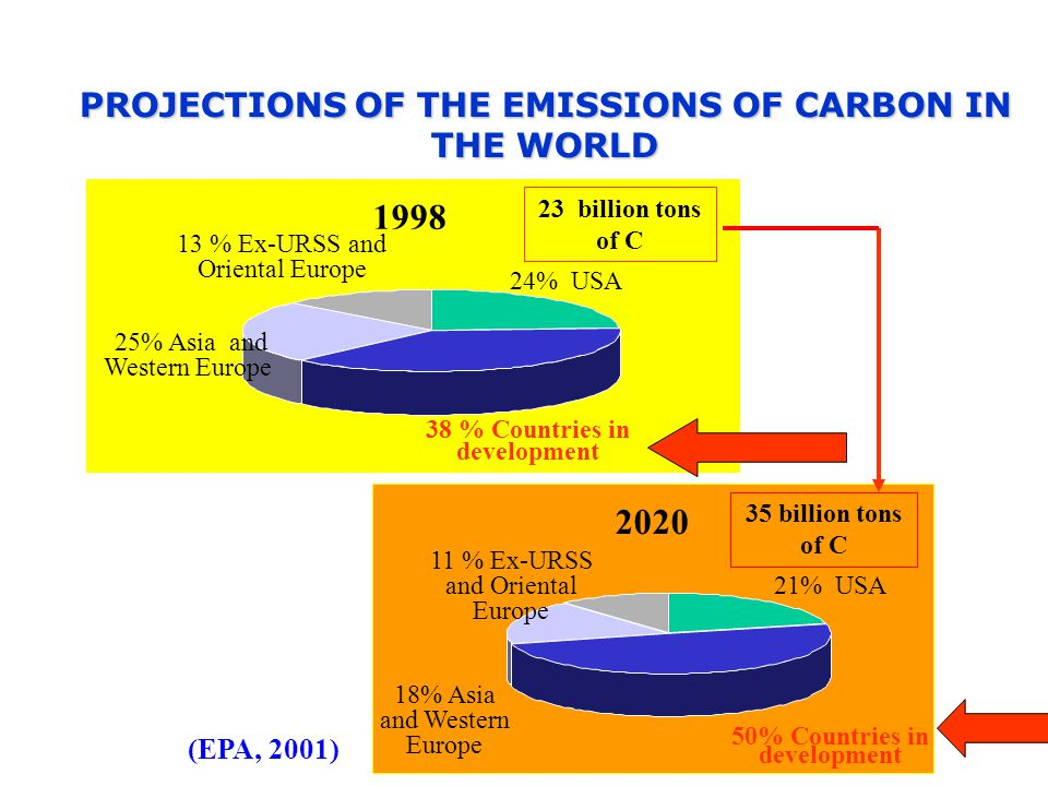PROJECTIONSOF THE EMISSIONS OF CARBON IN THE WORLD PROJECTIONS OF THE EMISSIONS OF CARBON IN THE WORLD % Countries in development 24% USA 25% Asia and Western Europe 13 % Ex-URSS and Oriental Europe 23 billion tons of C (EPA, 2001) % USA 18% Asia and Western Europe 11 % Ex-URSS and Oriental Europe 35 billion tons of C 50% Countries in development