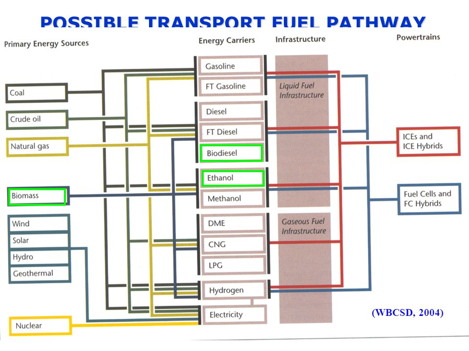 POSSIBLE TRANSPORT FUEL PATHWAY (WBCSD, 2004)