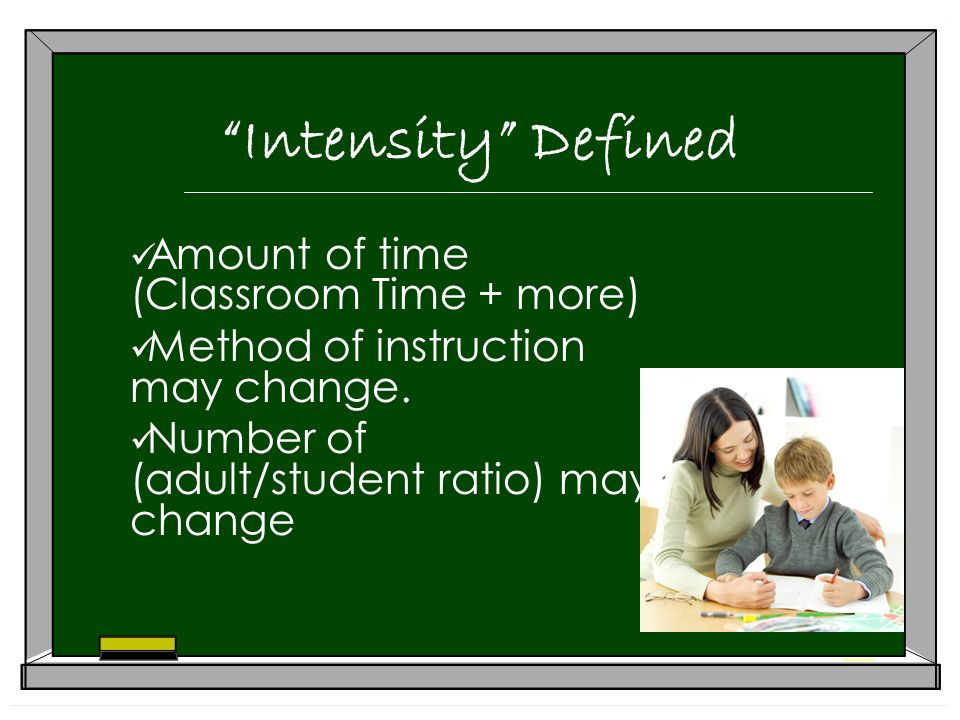 Intensity Defined Amount of time (Classroom Time + more) Method of instruction may change.