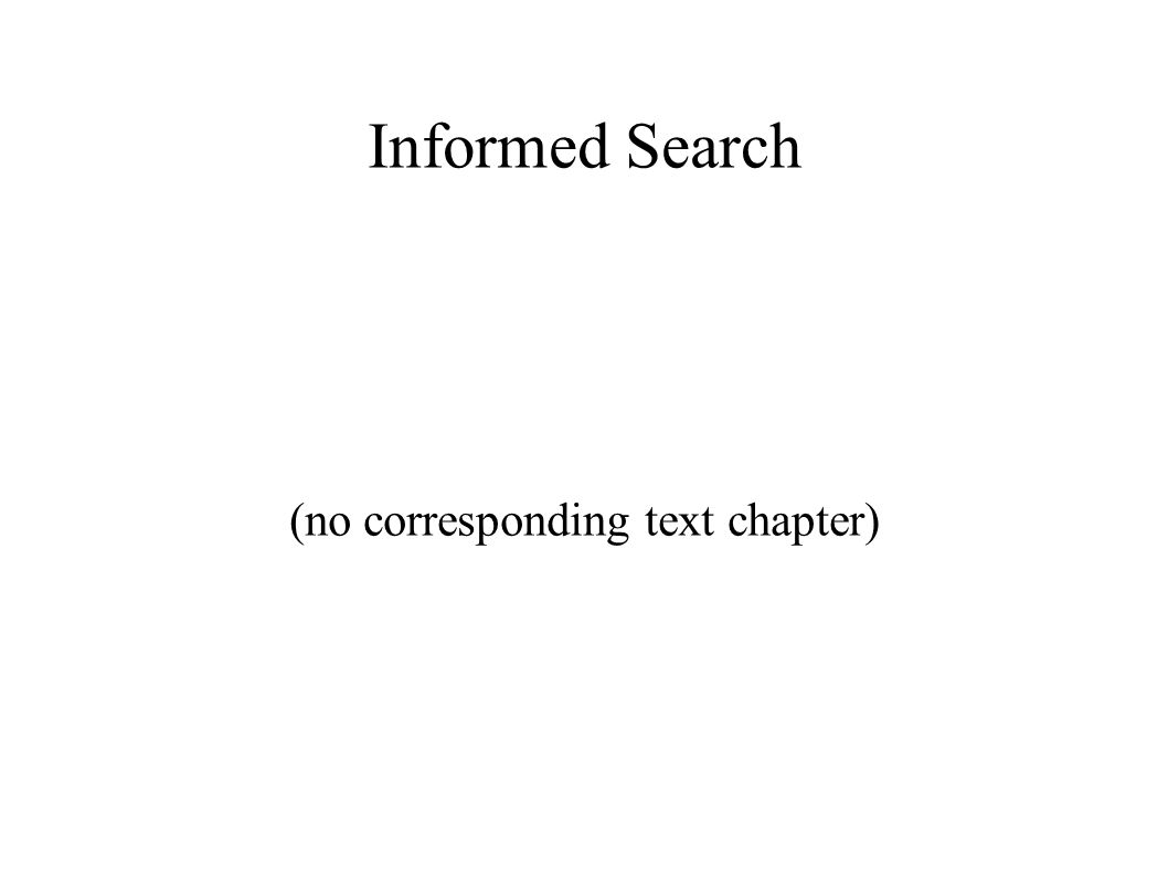 Informed Search (no corresponding text chapter)  Recall