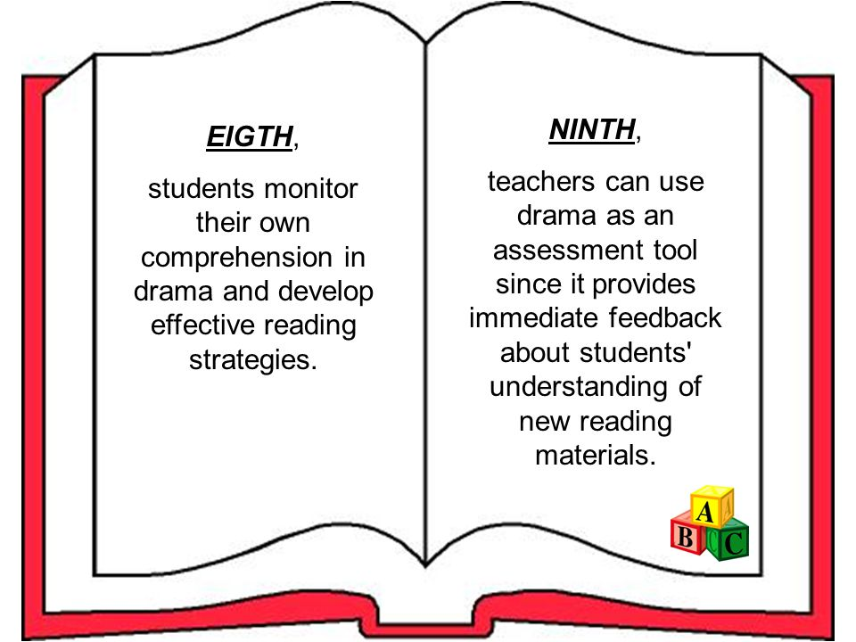 SIXTH, drama helps students acquire the knowledge of word order, phrasing, and punctuation that contribute to the meaning of a written sentence.