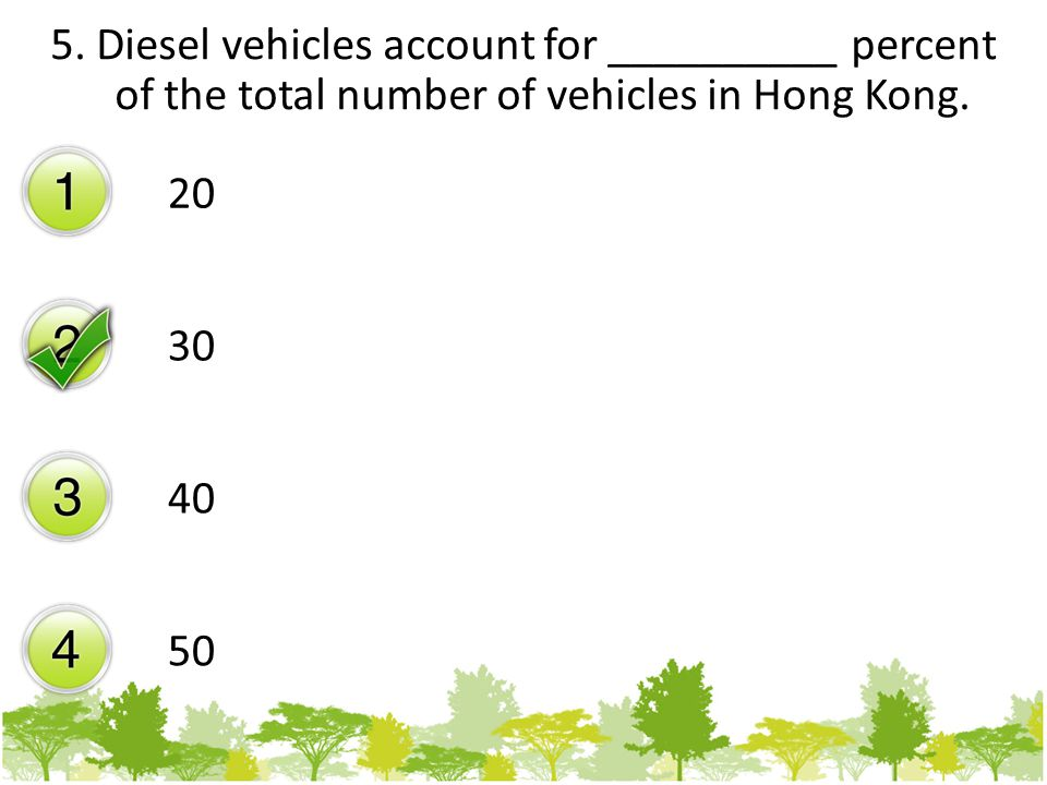 5. Diesel vehicles account for __________ percent of the total number of vehicles in Hong Kong.