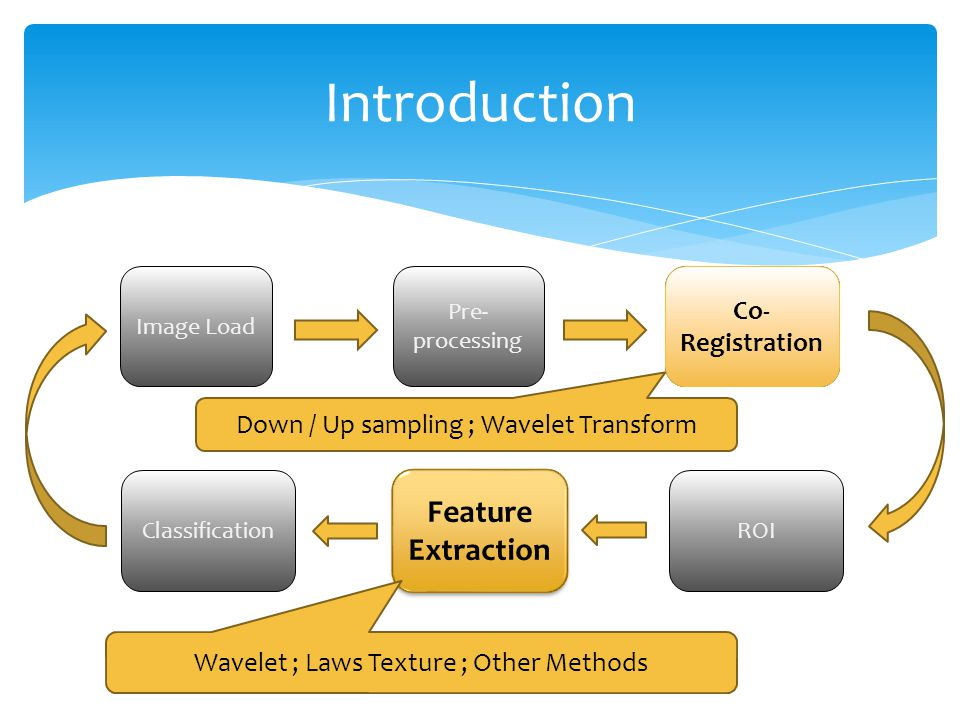 Image Load Pre- processing Co- Registration ROI Feature Extraction Classification Co- Registration Feature Extraction Down / Up sampling ; Wavelet Transform Wavelet ; Laws Texture ; Other Methods