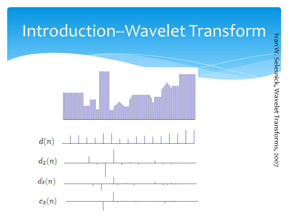 Introduction--Wavelet Transform Ivan W. Selesnick, Wavelet Transforms, 2007