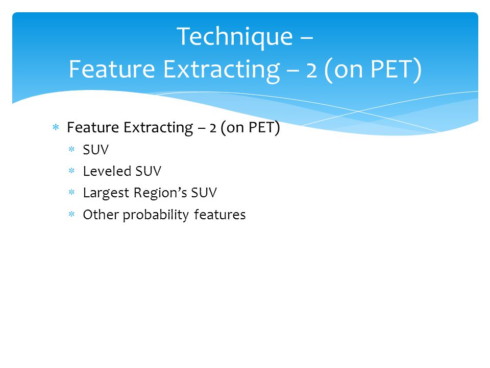  Feature Extracting – 2 (on PET)  SUV  Leveled SUV  Largest Region's SUV  Other probability features Technique – Feature Extracting – 2 (on PET)