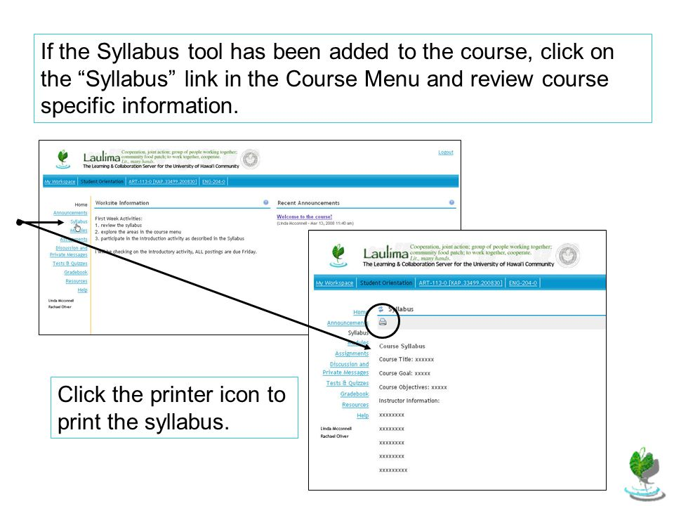 If the Syllabus tool has been added to the course, click on the Syllabus link in the Course Menu and review course specific information.