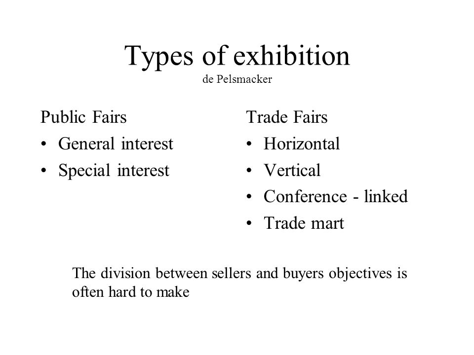 Exhibitions Fairs, Markets, Shows Definitions A temporary forum for
