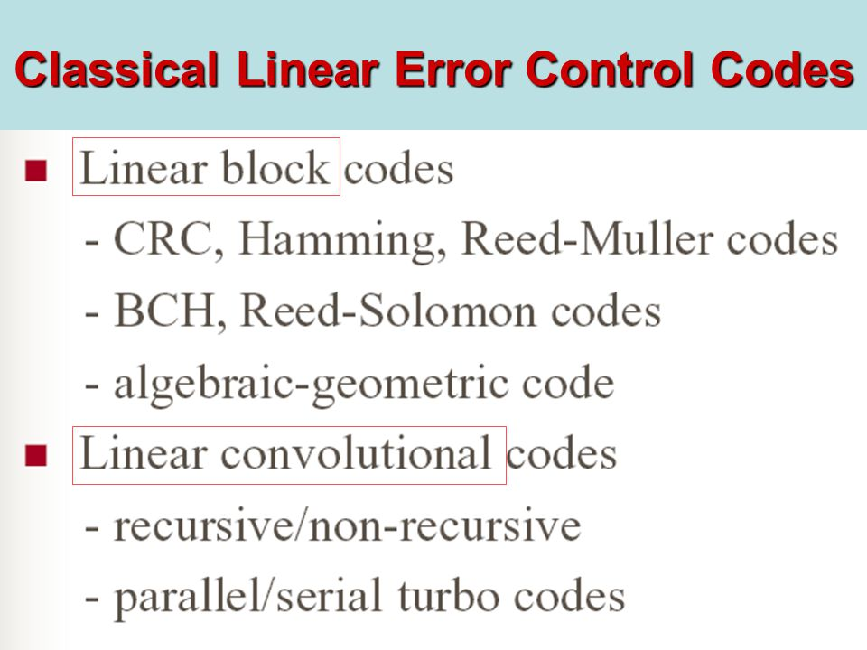 Classical Linear Error Control Codes