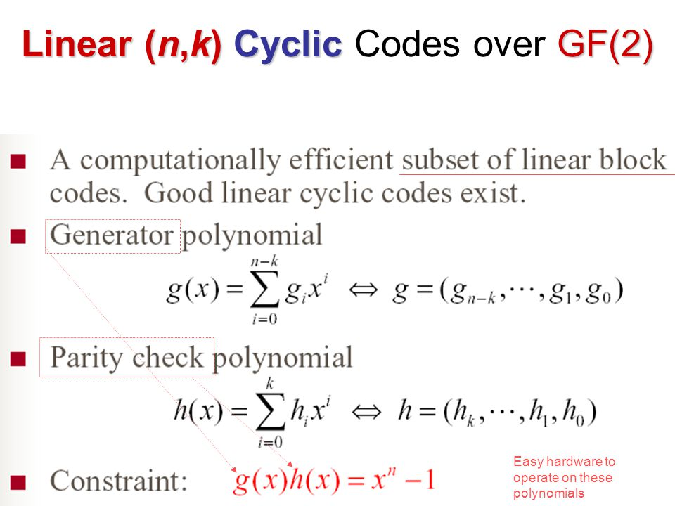 Linear (n,k)Cyclic GF(2) Linear (n,k) Cyclic Codes over GF(2) Easy hardware to operate on these polynomials