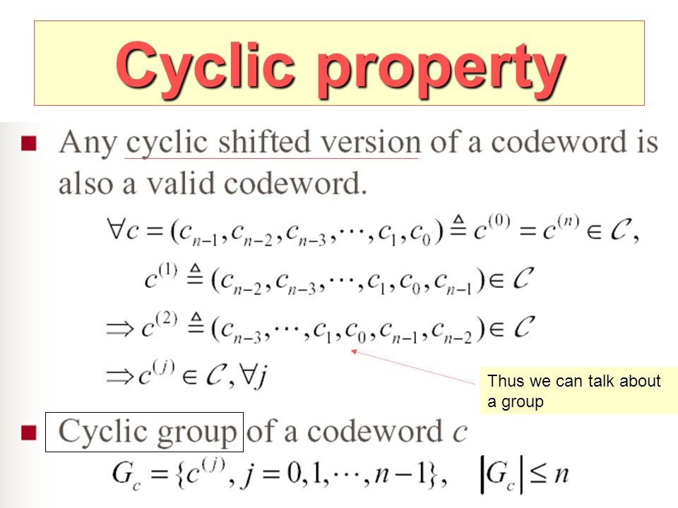 Cyclic property Thus we can talk about a group