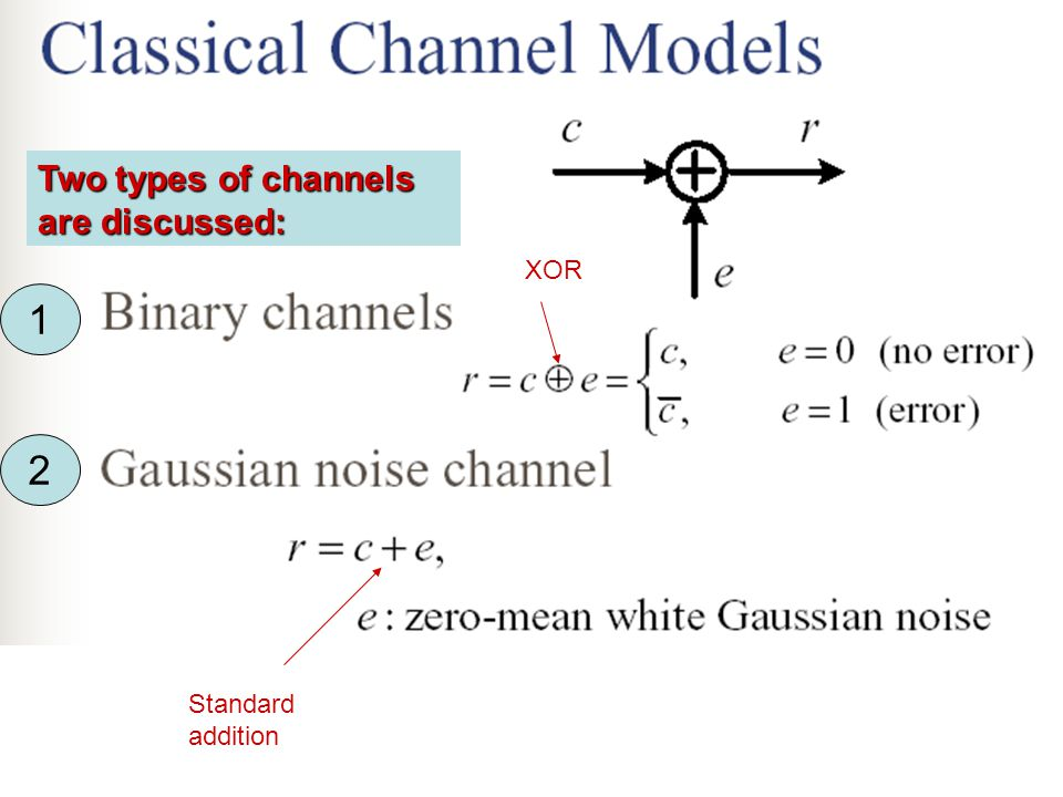 Two types of channels are discussed: 1 2 XOR Standard addition