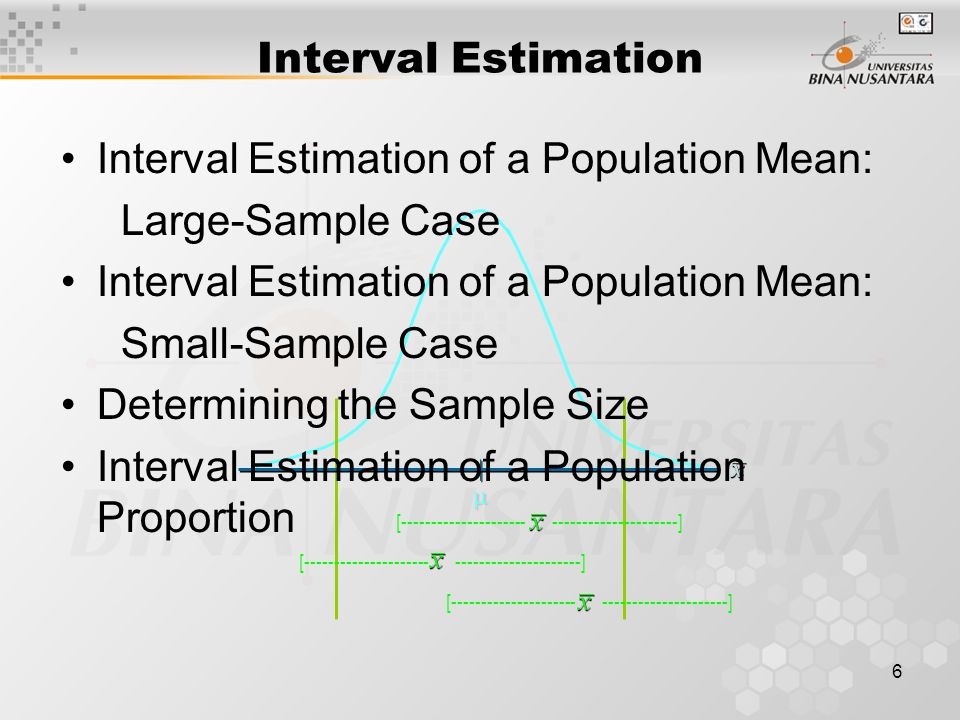 6 [ ]  Interval Estimation Interval Estimation of a Population Mean: Large-Sample Case Interval Estimation of a Population Mean: Small-Sample Case Determining the Sample Size Interval Estimation of a Population Proportion