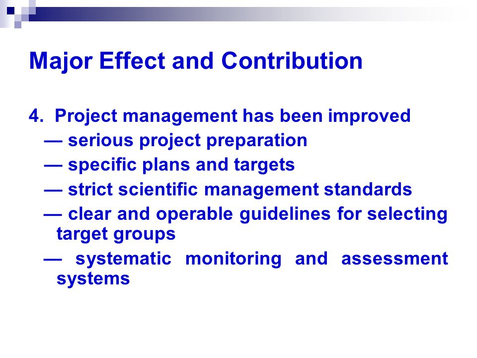 Major Effect and Contribution 4.