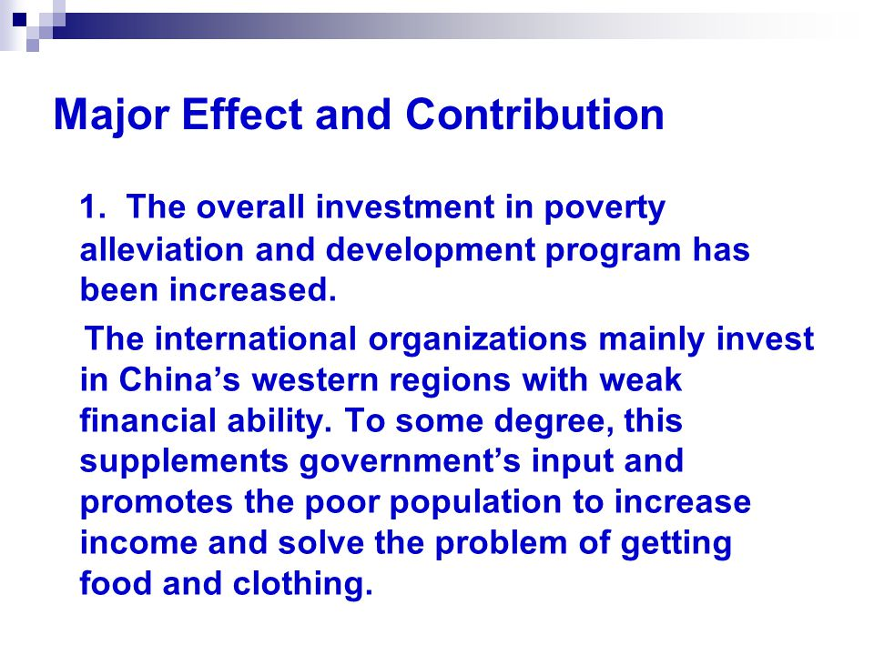 Major Effect and Contribution 1.