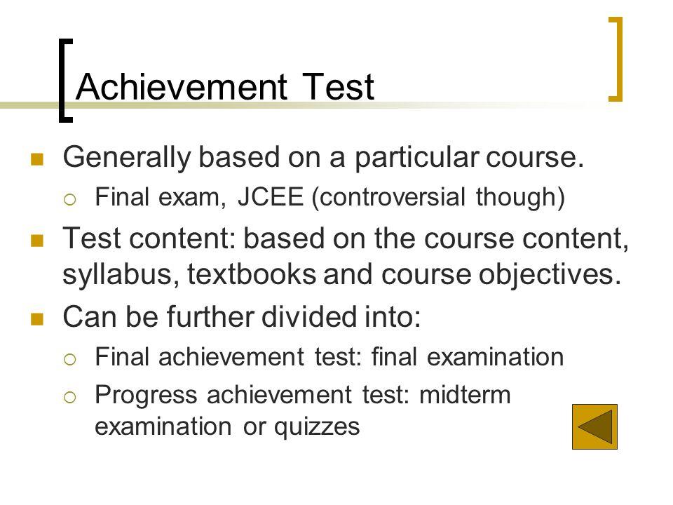 kinds of achievement test