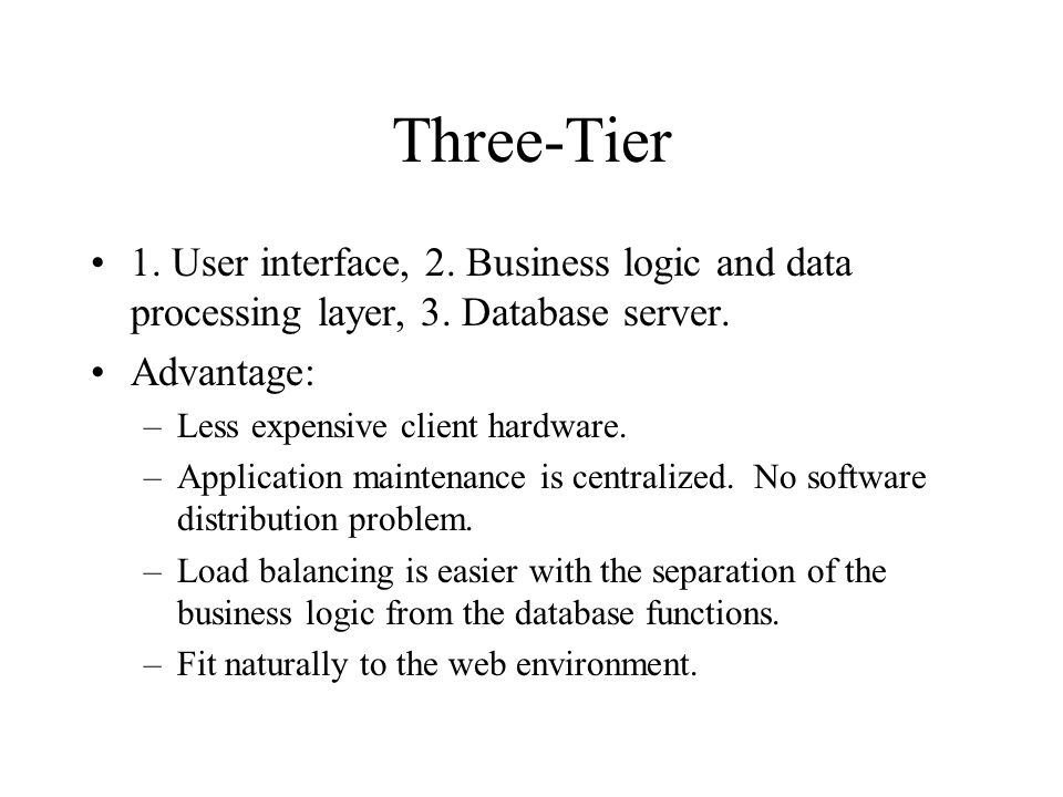 Three-Tier 1. User interface, 2. Business logic and data processing layer, 3.