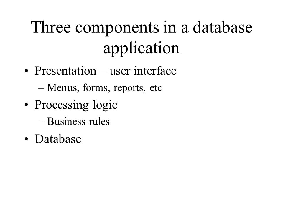 Three components in a database application Presentation – user interface –Menus, forms, reports, etc Processing logic –Business rules Database