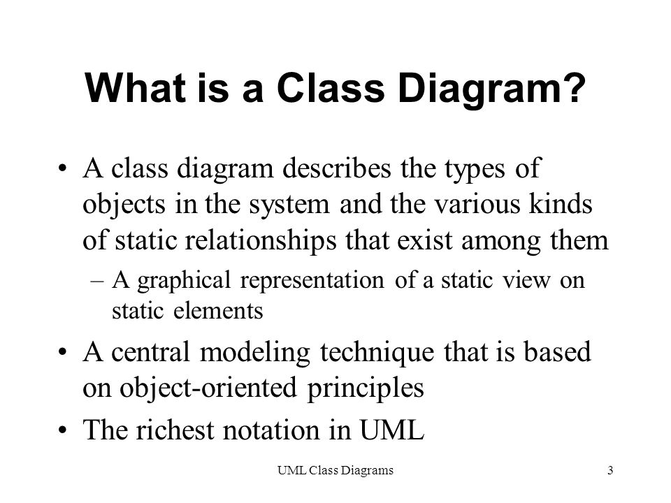 UML Class Diagrams3 What is a Class Diagram.