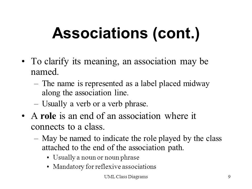 UML Class Diagrams9 Associations (cont.) To clarify its meaning, an association may be named.