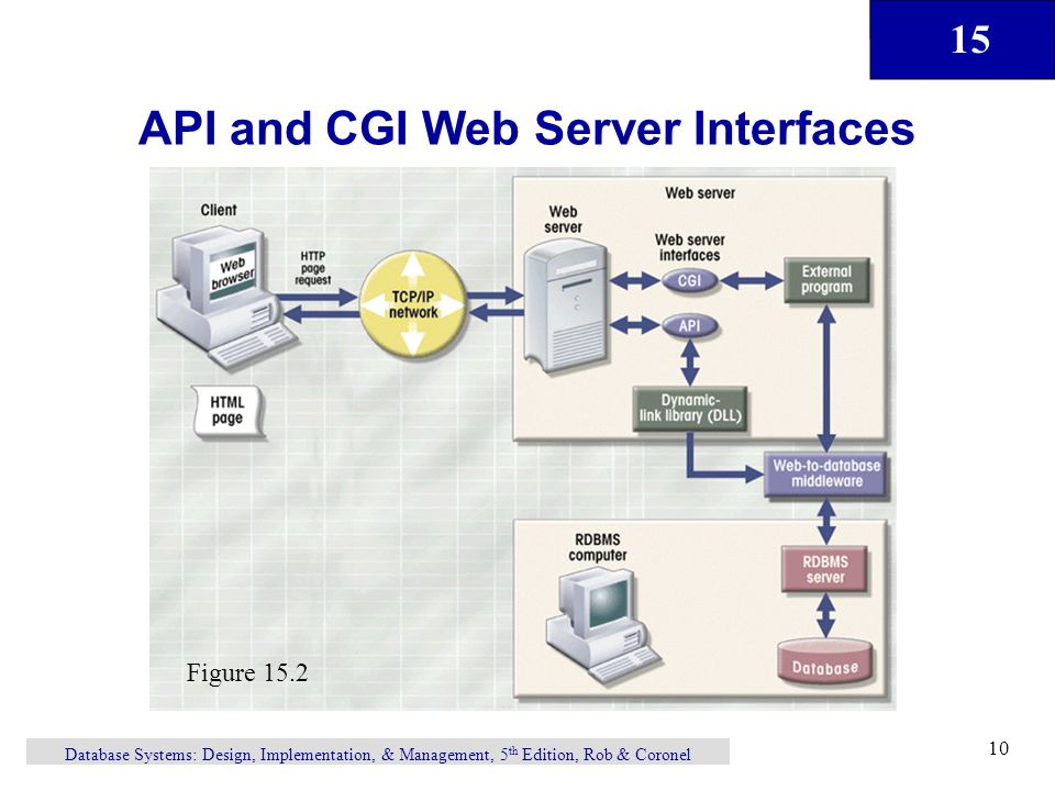 15 Database Systems: Design, Implementation, & Management, 5 th Edition, Rob & Coronel 10 API and CGI Web Server Interfaces Figure 15.2