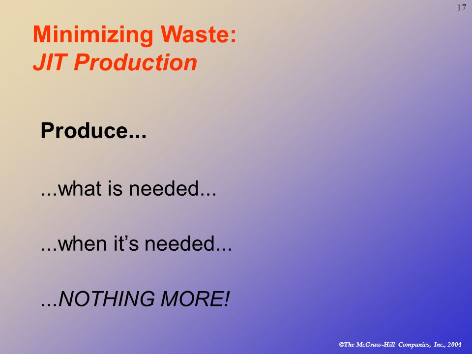 © The McGraw-Hill Companies, Inc., Minimizing Waste: JIT Production Produce......what is needed......when it's needed......NOTHING MORE!