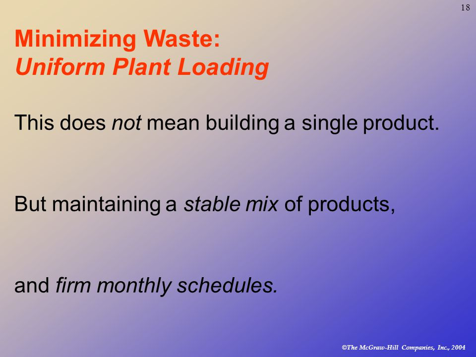© The McGraw-Hill Companies, Inc., Minimizing Waste: Uniform Plant Loading This does not mean building a single product.