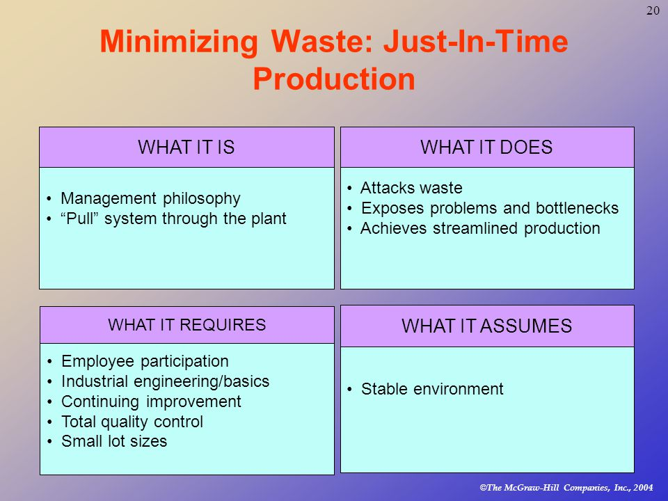 © The McGraw-Hill Companies, Inc., Minimizing Waste: Just-In-Time Production Management philosophy Pull system through the plant WHAT IT IS Employee participation Industrial engineering/basics Continuing improvement Total quality control Small lot sizes WHAT IT REQUIRES Attacks waste Exposes problems and bottlenecks Achieves streamlined production WHAT IT DOES Stable environment WHAT IT ASSUMES