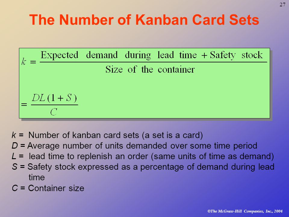 © The McGraw-Hill Companies, Inc., The Number of Kanban Card Sets k = Number of kanban card sets (a set is a card) D = Average number of units demanded over some time period L = lead time to replenish an order (same units of time as demand) S = Safety stock expressed as a percentage of demand during lead time C = Container size