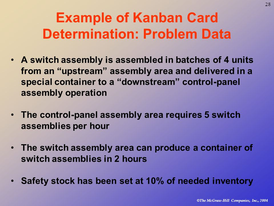 © The McGraw-Hill Companies, Inc., Example of Kanban Card Determination: Problem Data A switch assembly is assembled in batches of 4 units from an upstream assembly area and delivered in a special container to a downstream control-panel assembly operation The control-panel assembly area requires 5 switch assemblies per hour The switch assembly area can produce a container of switch assemblies in 2 hours Safety stock has been set at 10% of needed inventory