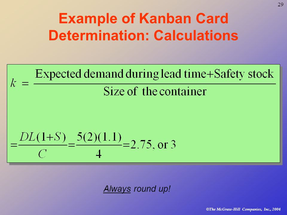 © The McGraw-Hill Companies, Inc., Example of Kanban Card Determination: Calculations Always round up!