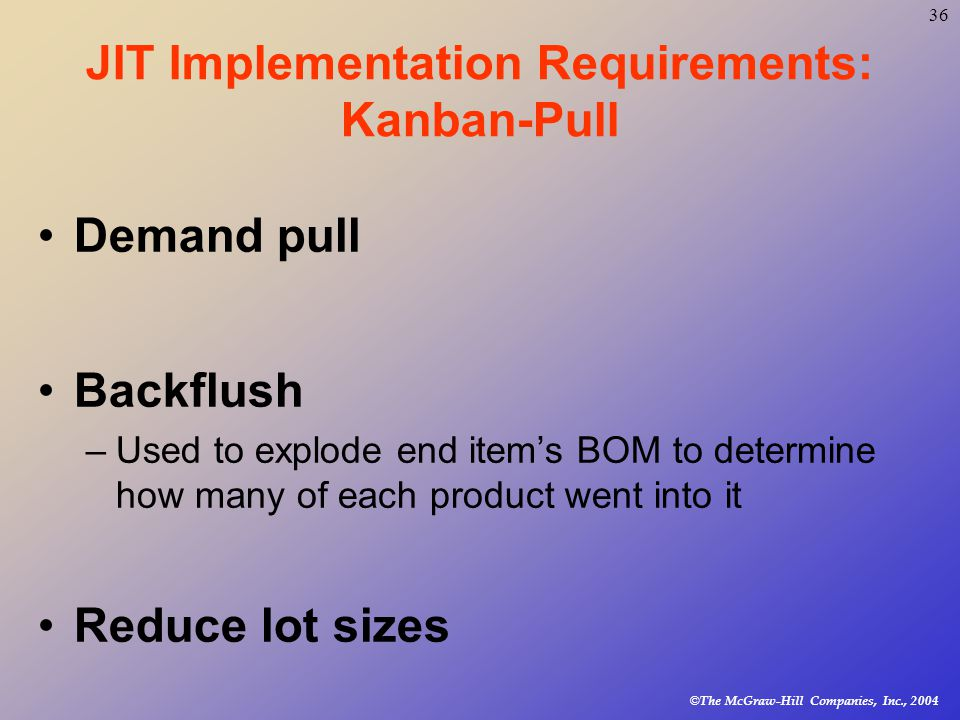 © The McGraw-Hill Companies, Inc., JIT Implementation Requirements: Kanban-Pull Demand pull Backflush –Used to explode end item's BOM to determine how many of each product went into it Reduce lot sizes