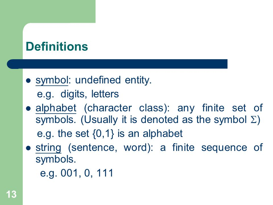 13 Definitions symbol: undefined entity. e.g.