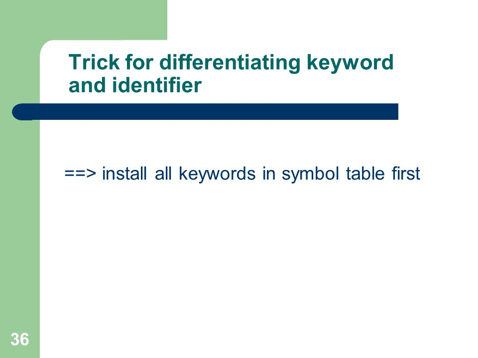 36 Trick for differentiating keyword and identifier ==> install all keywords in symbol table first
