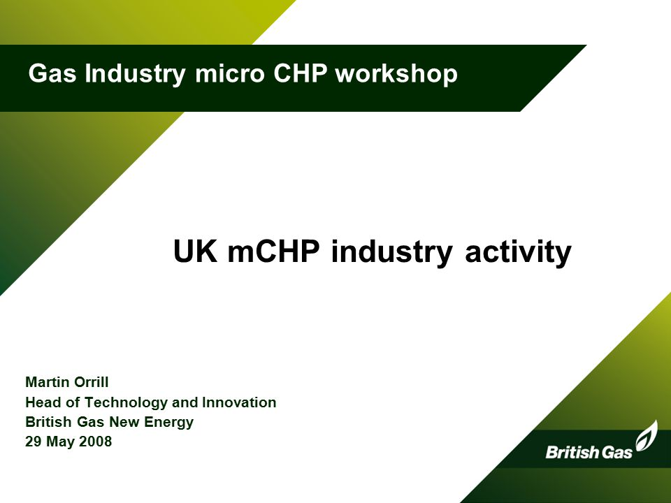 UK mCHP industry activity Martin Orrill Head of Technology and Innovation British Gas New Energy 29 May Gas Industry micro CHP workshop