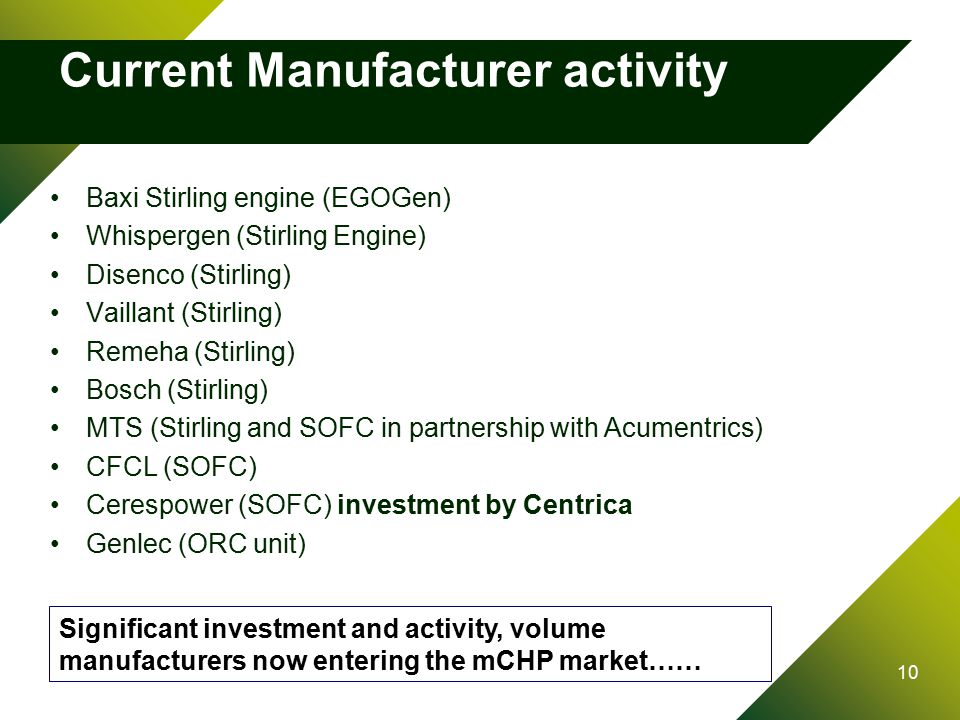 10 Current Manufacturer activity Baxi Stirling engine (EGOGen) Whispergen (Stirling Engine) Disenco (Stirling) Vaillant (Stirling) Remeha (Stirling) Bosch (Stirling) MTS (Stirling and SOFC in partnership with Acumentrics) CFCL (SOFC) Cerespower (SOFC) investment by Centrica Genlec (ORC unit) Significant investment and activity, volume manufacturers now entering the mCHP market……
