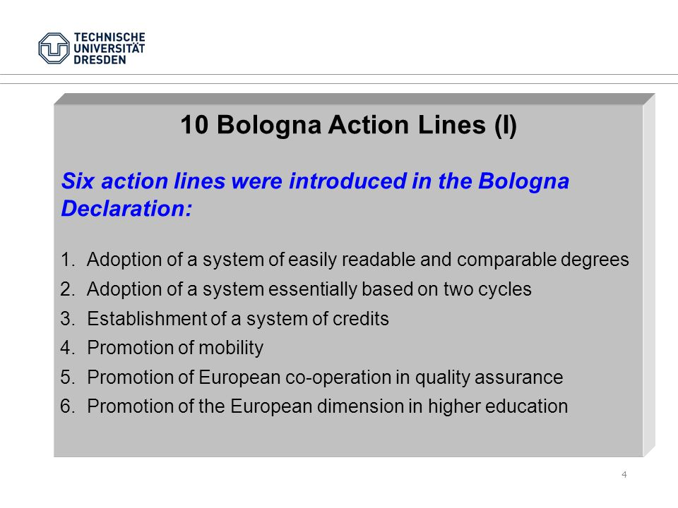 4 10 Bologna Action Lines (I) Six action lines were introduced in the Bologna Declaration: 1.Adoption of a system of easily readable and comparable degrees 2.Adoption of a system essentially based on two cycles 3.Establishment of a system of credits 4.Promotion of mobility 5.Promotion of European co-operation in quality assurance 6.Promotion of the European dimension in higher education
