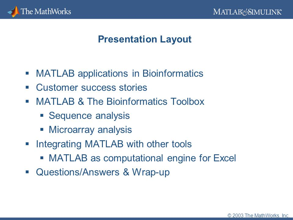 2003 The MathWorks, Inc  MATLAB Applications in