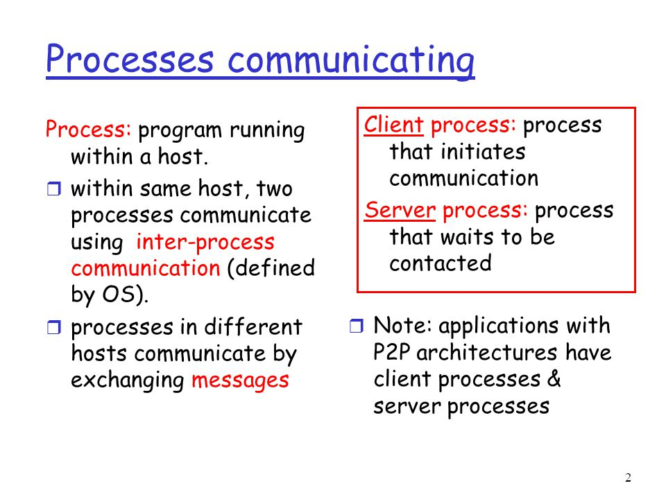 2 Processes communicating Process: program running within a host.