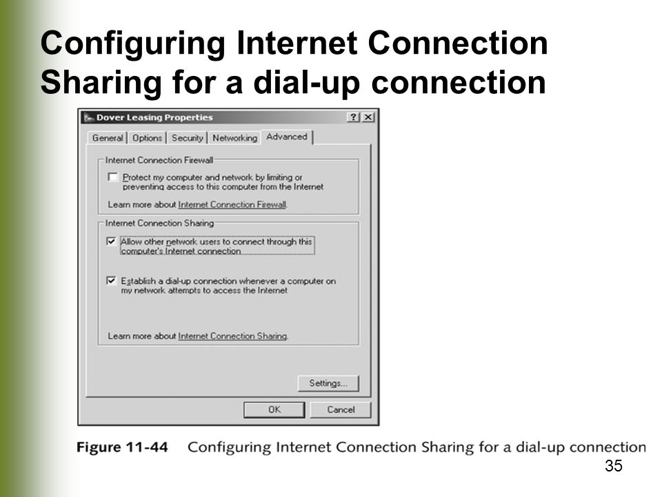 35 Configuring Internet Connection Sharing for a dial-up connection