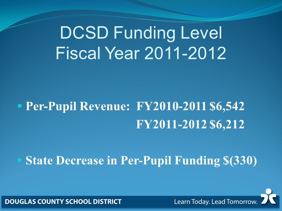 DCSD Funding Level Fiscal Year  Per-Pupil Revenue: FY $6,542 FY $6,212  State Decrease in Per-Pupil Funding $(330)
