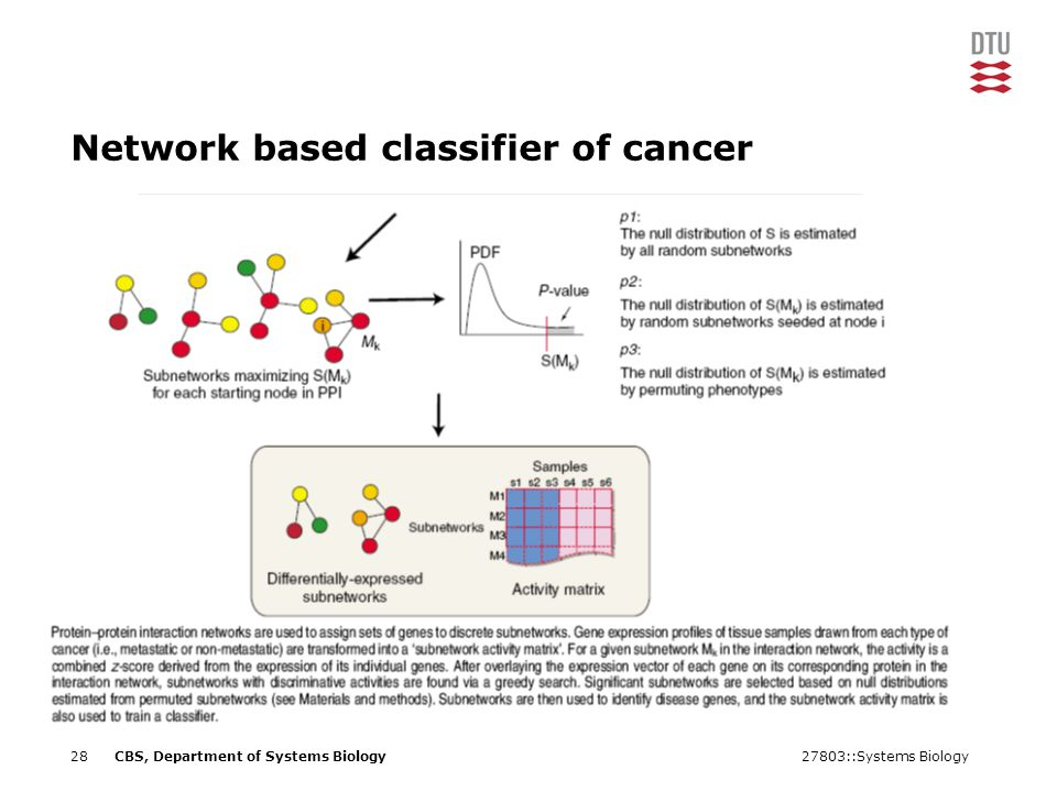 27803::Systems Biology28CBS, Department of Systems Biology Network based classifier of cancer