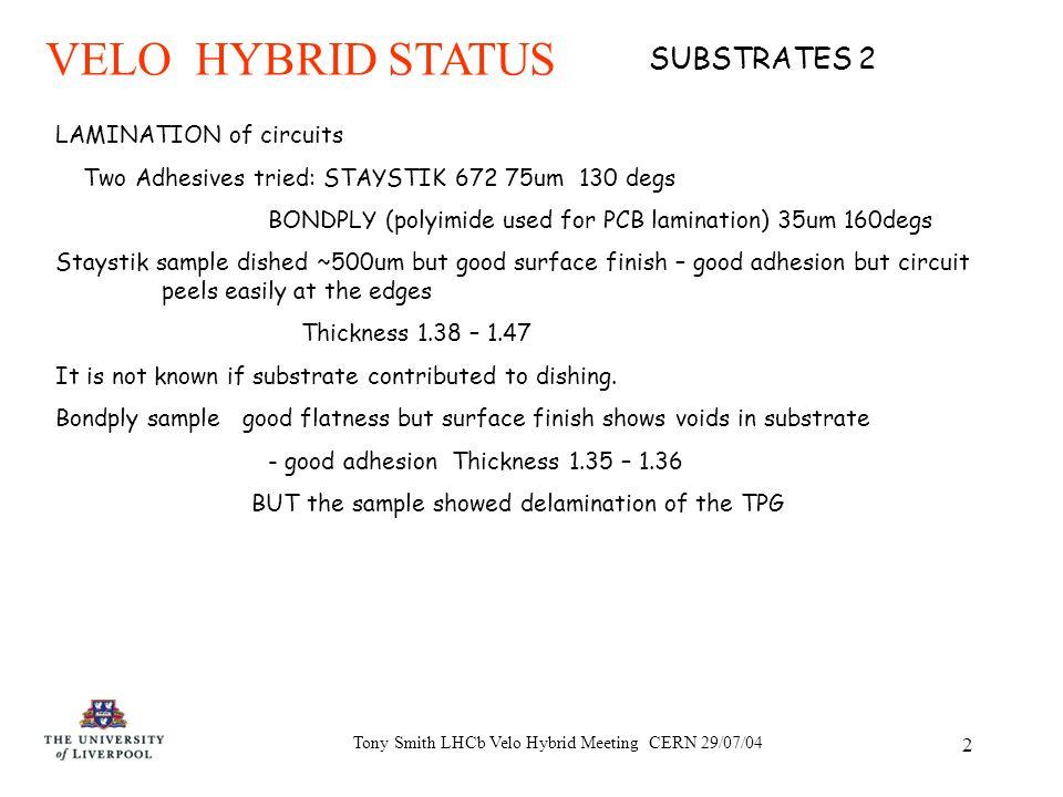 Tony Smith LHCb Velo Hybrid Meeting CERN 29/07/04 1 VELO HYBRID