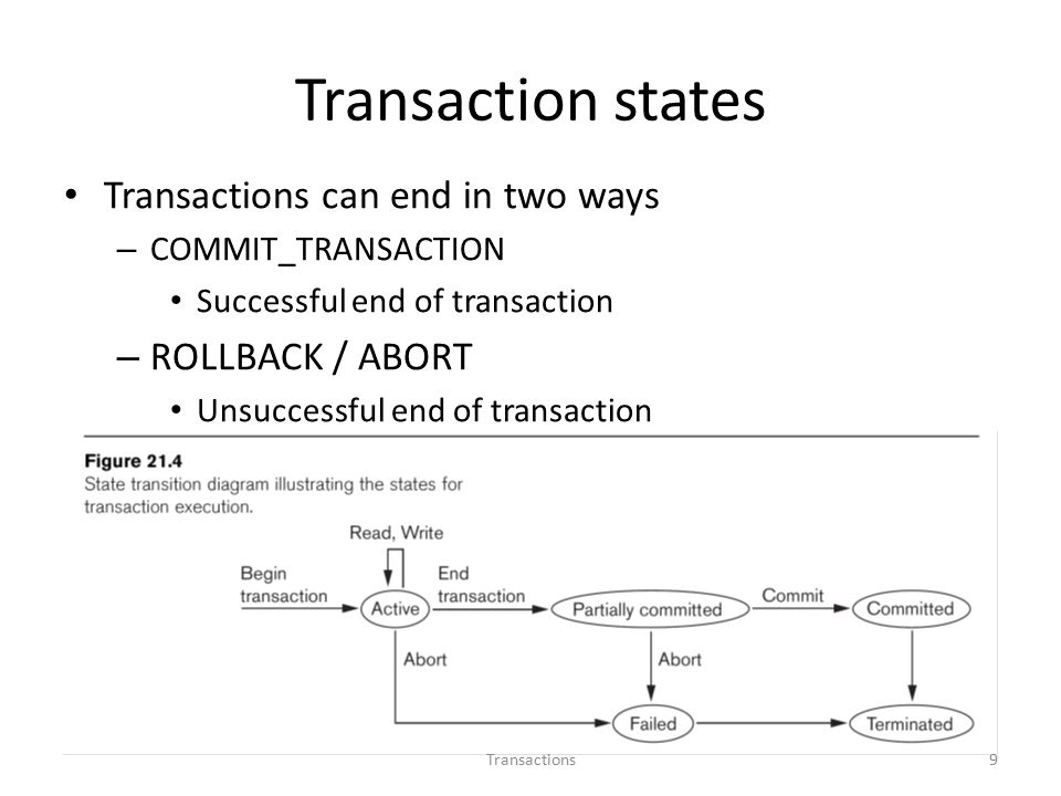 Transaction states Transactions can end in two ways – COMMIT_TRANSACTION Successful end of transaction – ROLLBACK / ABORT Unsuccessful end of transaction 9Transactions