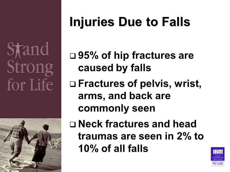 Injuries Due to Falls  95% of hip fractures are caused by falls  Fractures of pelvis, wrist, arms, and back are commonly seen  Neck fractures and head traumas are seen in 2% to 10% of all falls